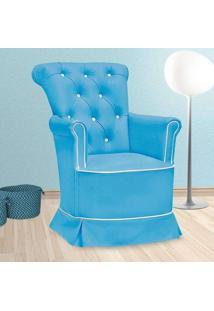 Poltrona Amamentação Paola Fixa Sem Puff Corino Azul E Branco - Confortável