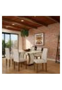 Conjunto De Mesa De Jantar Com 6 Cadeiras Estofadas Eva I Veludo Off White E Creme