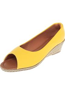 Peep Toe Dafiti Shoes Anabela Amarelo