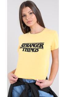 Blusa Feminina Stranger Things Manga Curta Decote Redondo Mostarda