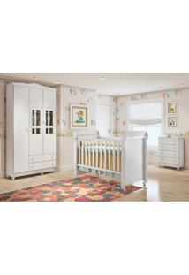 Dormitório Guar. Roupa Ariel 3Pts / Cômoda Ariel 4Gav E Berço Mirelle Branco