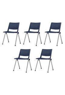 Kit 5 Cadeiras Up Assento Azul Base Fixa Cinza - 57802 Azul
