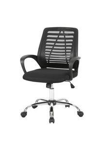 Cadeira Office Lenox Tela Preta Base Cromada - 58456 Preto