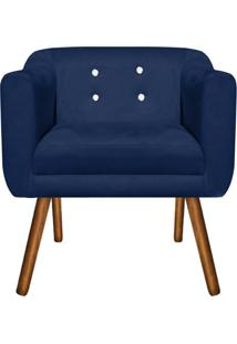 Poltrona Decorativa Julia Suede Azul Marinho Com Strass - D'Rossi - Azul Marinho - Dafiti