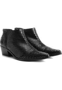 Bota Couro Cano Curto Shoestock Escama Feminina - Feminino-Preto
