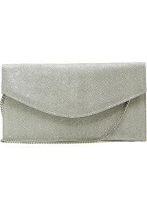 Bolsa De Festa Hendy Bag Envelope Glitter Prata