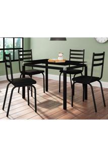 Conjunto De Mesa De Cozinha Com 4 Lugares Malva I Courvin Preto