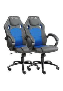 Cadeira Gamer Husky Snow, Black Blue - Hsn-Bb + Cadeira Gamer Husky Snow, Black Blue - Hsn-Bb