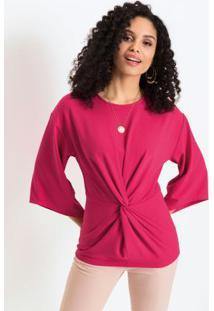 Blusa Em Crepe Com Nó Frontal Pink