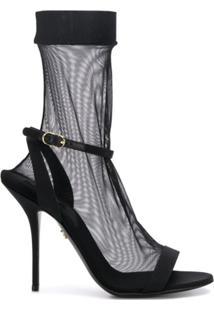 Dolce & Gabbana Sandália Translúcida Com Salto Agulha - Preto