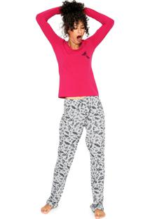Pijama Hering Estampado Rosa/Cinza