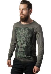 Camiseta Skull Lab Manga Longa King Cinza