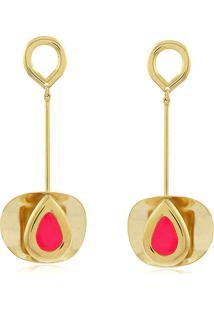 Brinco Viva Jolie Vitã³Ria Rã©Gia Rosa Pink Gota Cheia Banho Em Ouro - Dourado/Vermelho - Feminino - Dafiti