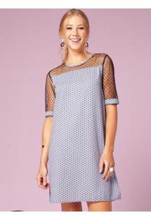 Vestido Clássico Azulejo Com Recorte Em Tule