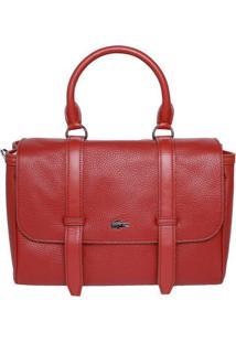 Bolsa Retangular Em Couro - Vermelha - 22X38X15Cmlacoste