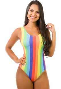 Body Kaisan Sublimado Cavado Nas Costas Color Stripes - Feminino-Amarelo