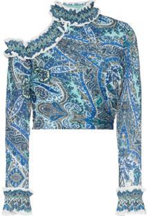 Zimmermann Blusa Cropped De Gola Alta Com Vazado E Babado - Azul