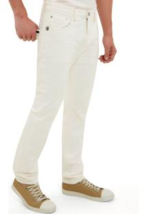 Calça John John Slim Mexico 3D Sarja Off White Masculina Cc Slim Mexico 3D-Off White-44