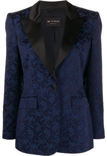 Etro Blazer Slim De Jacquard Floral - Azul