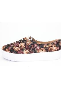 Tênis Quality Shoes Flatflorm 005 Floral Multicolorido