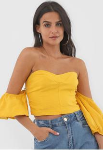 Blusa Linho Forum Cropped Amarela - Amarelo - Feminino - Linho - Dafiti