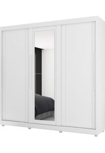 Guarda Roupa Veneto 3 Pts C/Espelho Branco Móveis Lanza - Tricae
