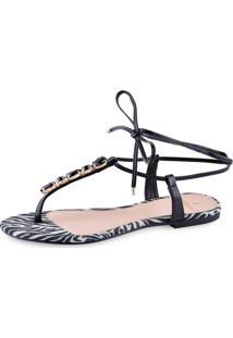 Sandália Flat La Femme Zebra Amarração Preta