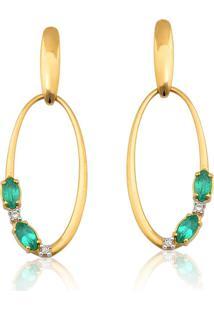 Brinco De Ouro 18K Oval Esmeraldas E Diamantes Coleção Esmerald Rhythm