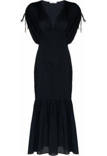 Marysia Vestido Midi Monterey De Algodão Com Decote Em V - Azul