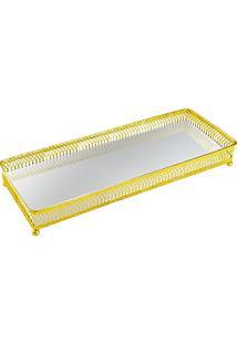 Bandeja Em Metal Com Espelho, Moas, Dourado, 6547