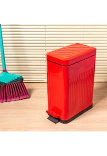Lixeira De Zinco 10L Com Pedal Vermelha Coisas E Coisinhas