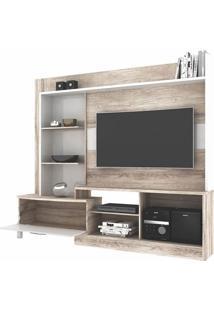 Estante Home Para Tv De Até 54 Polegadas New Lavínia Colibri Castanho Rústico Com Branco Neve
