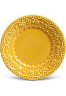 Prato Sobremesa Esparta Cerâmica 6 Peças Mostarda Porto Brasil