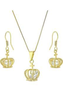 Conjunto Colar E Brinco Coroa Com Zircônia 3Rs Semijoias Dourado - Kanui