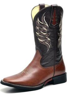 Bota Couro Country Texana Top Franca Shoes Masculino - Masculino-Café
