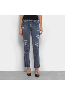 Calça Jeans Reta Coca-Coca Cintura Média Feminina - Feminino-Azul