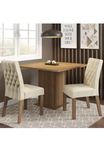 Conjunto Sala De Jantar Madesa Maju Mesa Tampo De Madeira Com 2 Cadeiras Marrom - Tricae