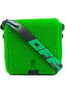 Off-White Bolsa Carteiro Com Pelo - Verde