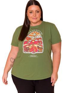 T-Shirt Back To Nature Sislla Verde Militar - Kanui