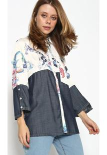 Camisa Jeans Arabescos - Branca & Azulscalon