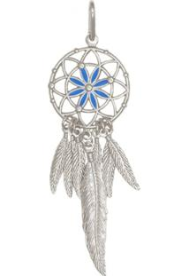 Pingente Prata Mil Prata Apanhador De Sonhos Com Resina Azul Prata - Kanui