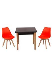 Conjunto Mesa De Jantar Luiza 80Cm Preta Com 2 Cadeiras Leda - Vermelho