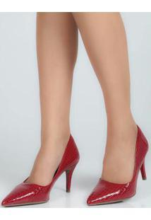 Sapato Scarpin Feno Animal Skin Vermelho Vermelho