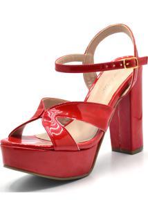 Sandália Plataforma Vermelha Flor Da Pele