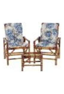 Conjunto Mesa E 2 Cadeiras De Bambu Cancun Para Área Edicula Jardim G14