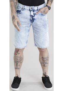 Bermuda Jeans Reta Marmorizada Destroyed Azul Claro