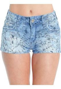 Shorts Jeans Estampado Destroyed Detalhes Dourados Colcci - Feminino-Azul