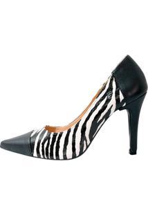 Scarpin Zebra Com Preto Salto Fino - Kanui
