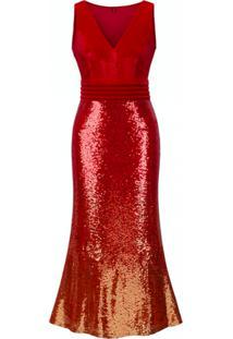 Vestido Longo Shine - Vermelho P