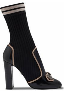 Dolce & Gabbana Ankle Boot Meia De Tricô - Preto